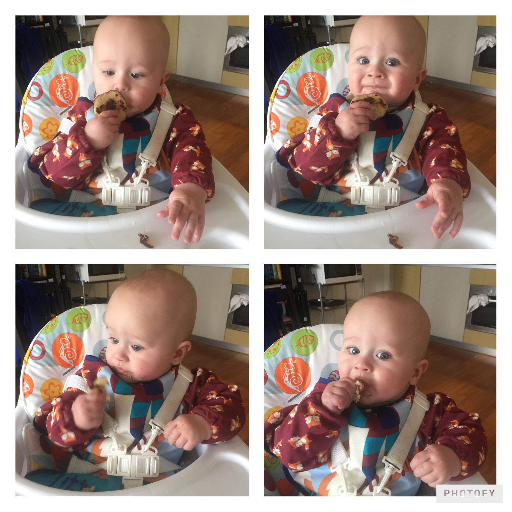 four photos of Dexter sat in a high chair eating baby led weaning banana pancakes