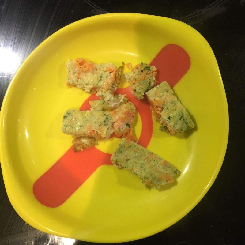 Cut up baby led weaning omelette on a munchkin hot plate