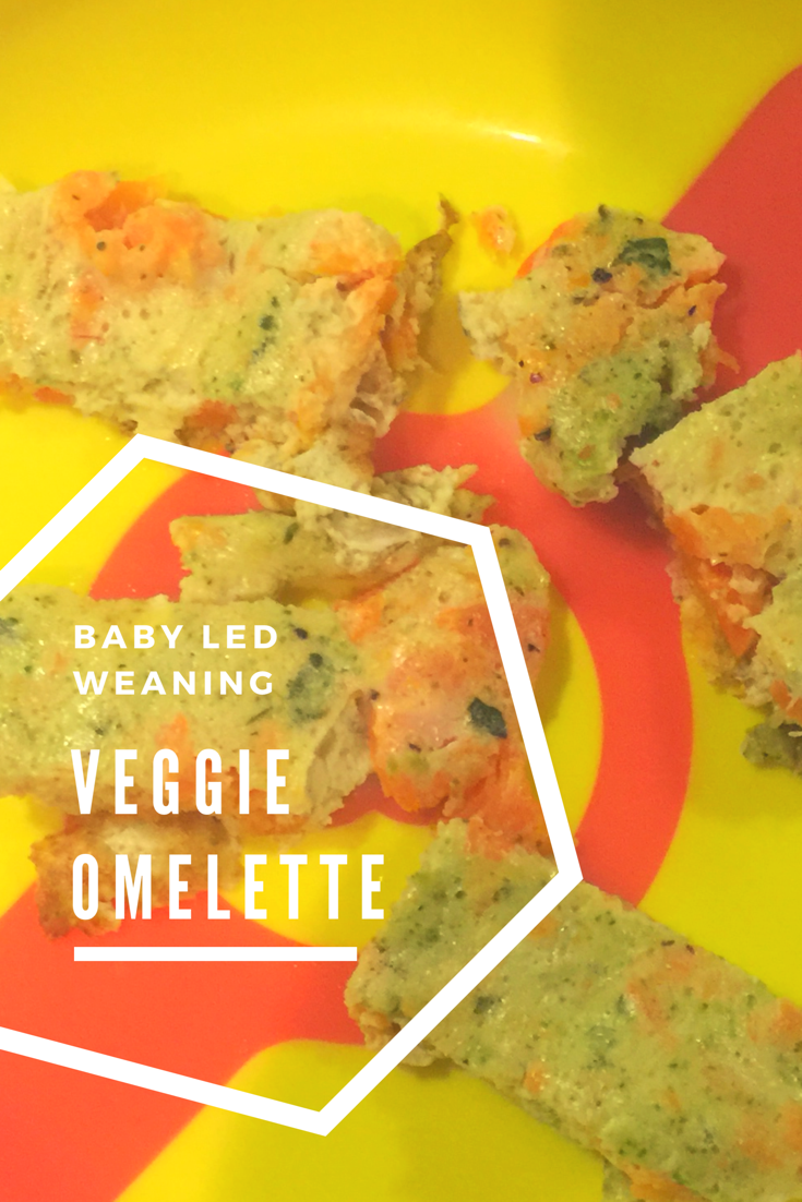 baby led weaning omelette cut up and placed on a yellow plate