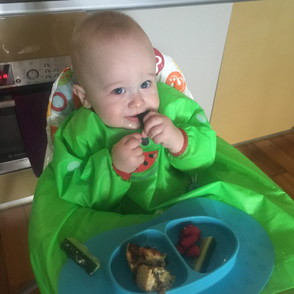Dexter eating his lunch of fruit and muffins while wearing the bibado bib, sat in his highchair
