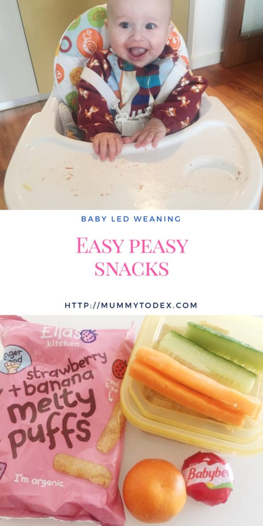 A list of easy peasy snacks suitable for babies who are following baby led weaning (BLW) easy snacks for moms to prepare for when you're out and about or just at home.