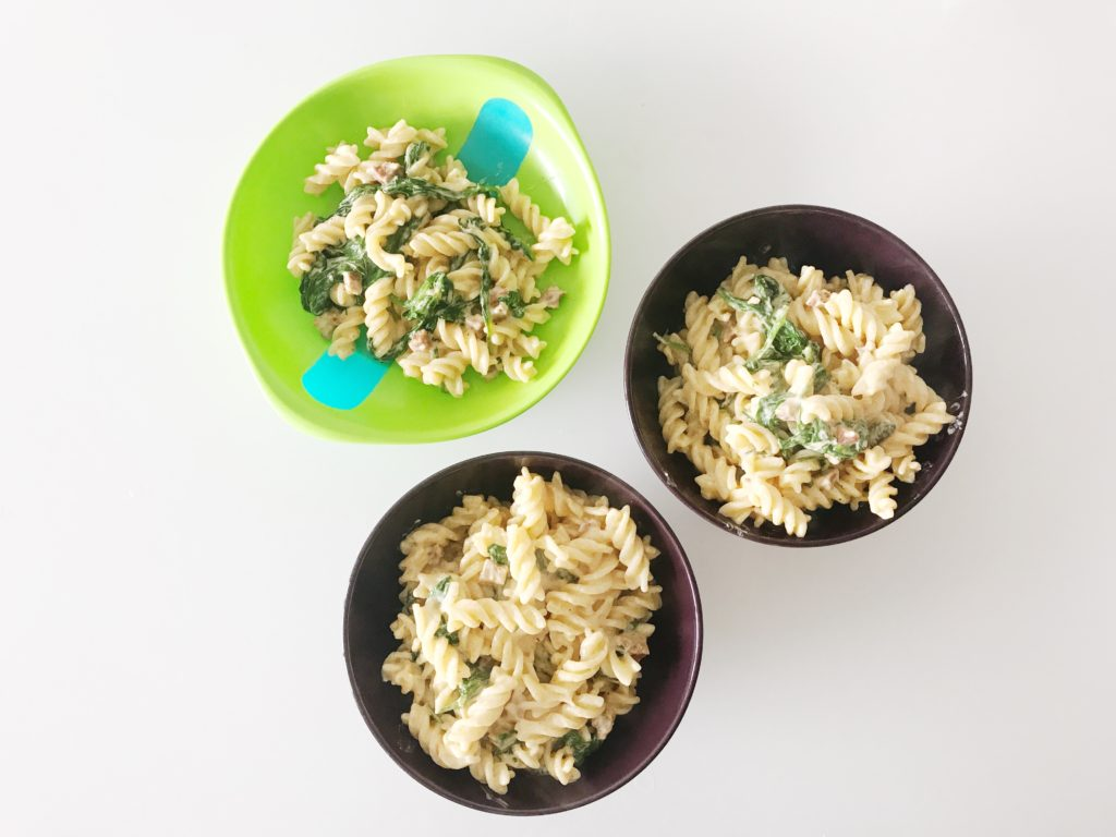 one toddler carbonara and two adult portions