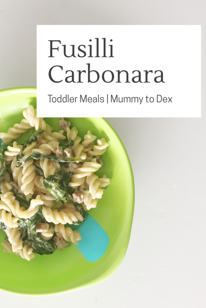 fusilli carbonara recipe, an easy peasy toddler meal using spinach, chorizo, garlic, pepper, yoghurt and an egg. Delicious and easy lunch or supper.