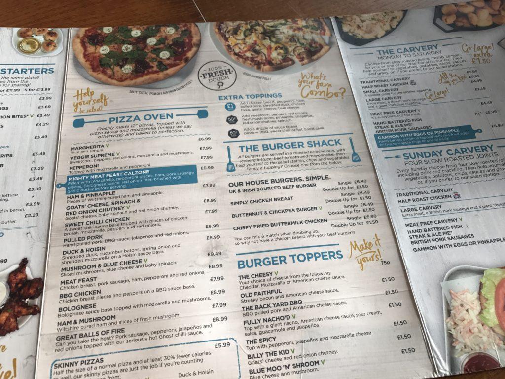 Britannia Inn Liverpool's menu