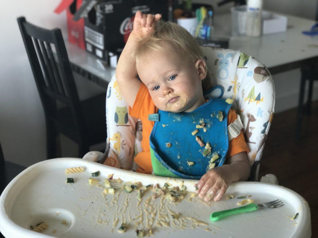 Dexter enjoying his toddler carbonara