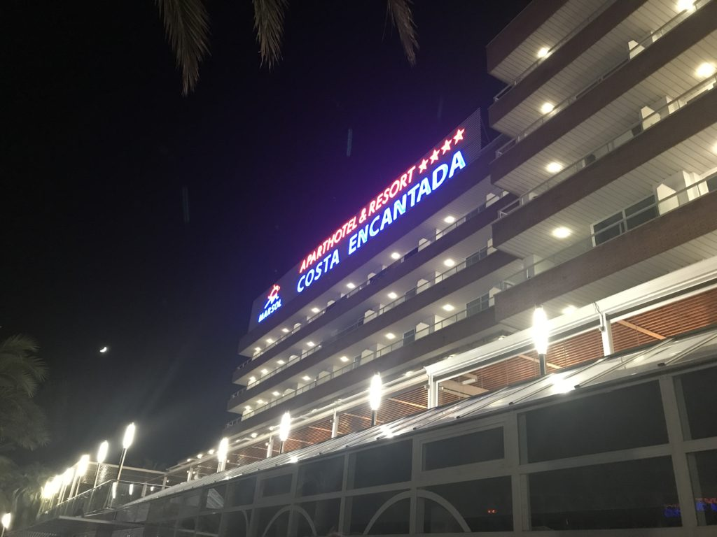 the costa encantada by night, a view of the front of the hotel