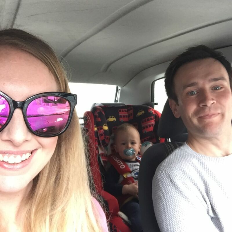 me in the driving seat, my husband in the passenger seat and dexter in the back of the car in his forward facing car seat. why we use a forward facing car seat