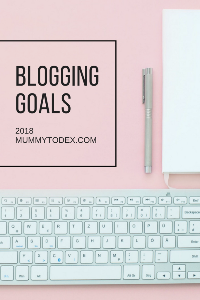 pinterest image 2018 blog goals by mummy to dex. white keyboard on a pink background