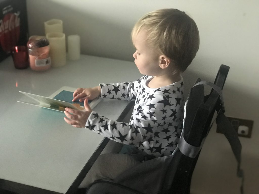 Dexter sat in the Nuby travel booster seat reading a book