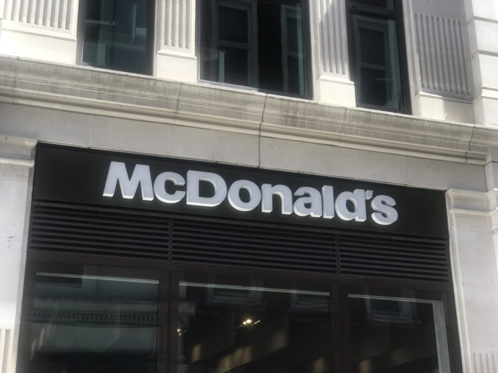 A shot of the outside of the McDonalds restaurant in St Paul's London where we tried the new McDonalds grilled chicken wrap