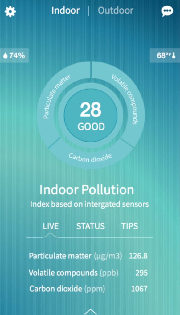 Screenshot of the foobot air quality monitor's app showing the indoor pollution levels
