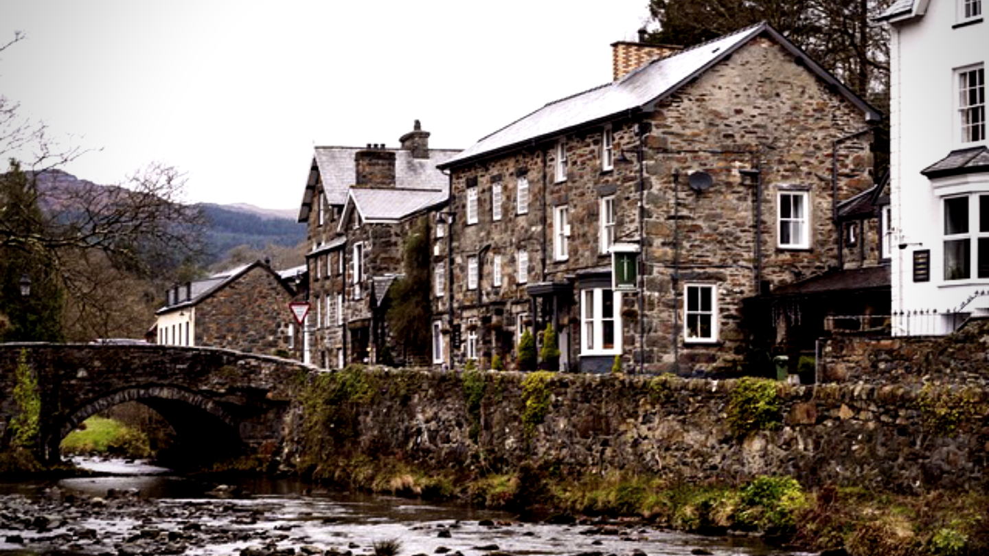 Betws-y-Coed, cottages, river and a bridge