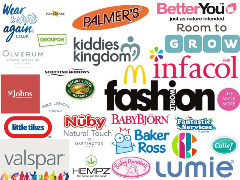 the logos of the brands Mummy to Dex has worked with