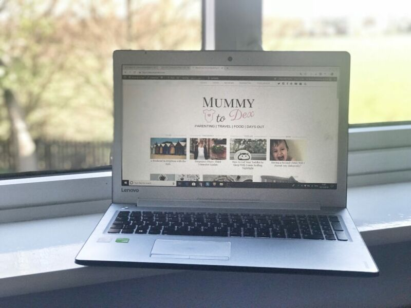 laptop showing Mummy to Dex blog situated on a windowsill