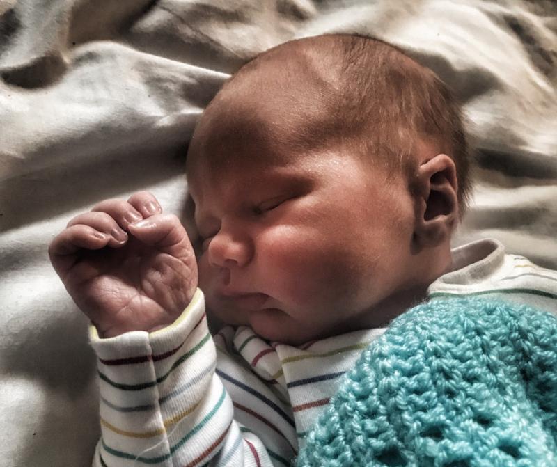 Felix fast asleep as a newborn