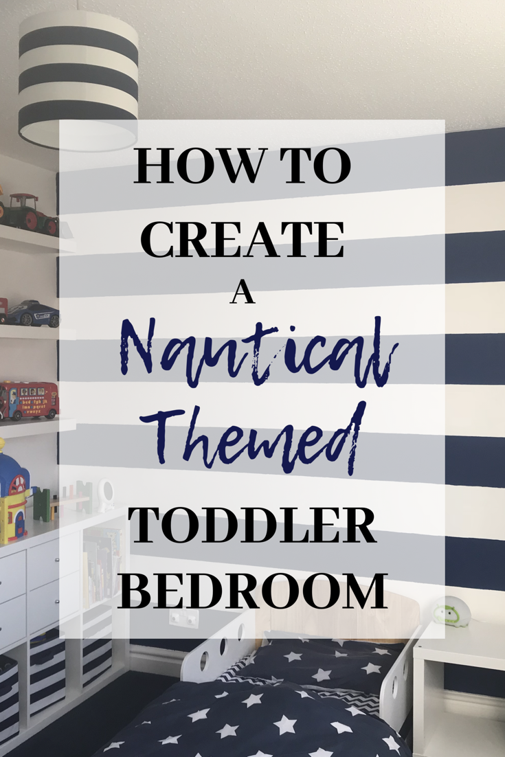 How to Create a Nautical Themed Toddler bedroom using a navy and white colour scheme and key pieces to bring this beautiful room to life. Looking to shake up the interior design in your toddler's bedroom? Give this nautical theme a go, with before and after photos. #interiordesign #toddlerbedroom #interiors #toddlerroom