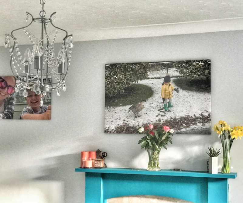 Our living room with a silver chandelier and a canvas print of Dexter looking at a goose in Martin Mere above the fireplace