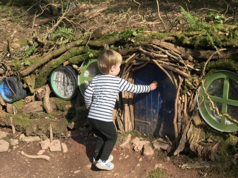 Dexter knocking on a fairy door in the enchanted forest in bluestone