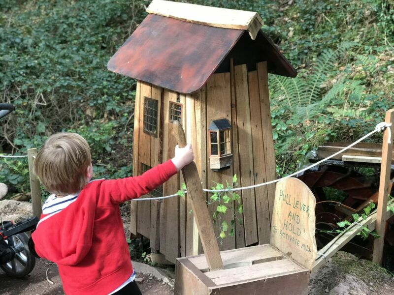 Dexter in bluestone's enchanted forest pulling a lever to make a waterwheel work