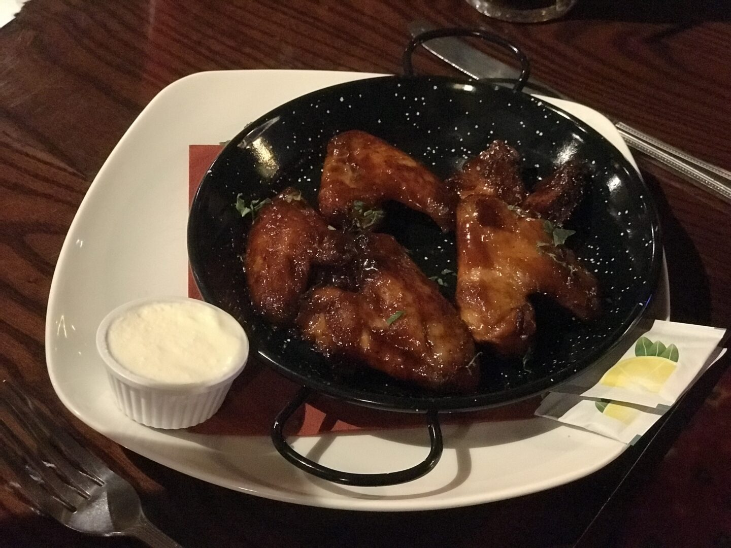 starter of chicken wings and sauce in the buccaneer, blackpool