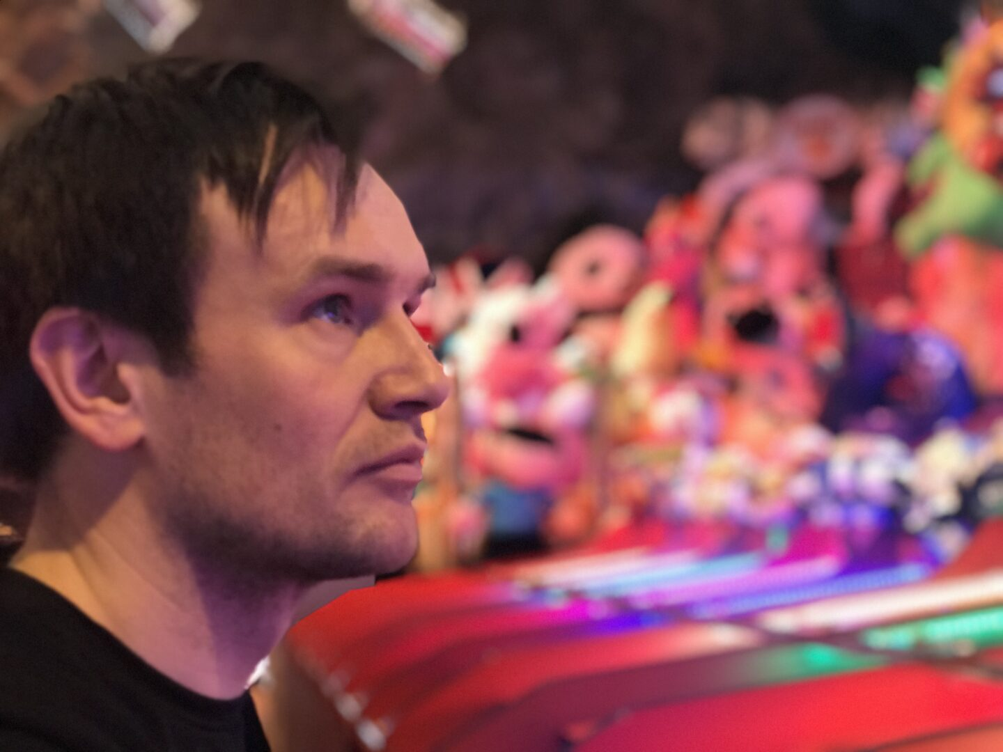 Neil sat at the camel derby in Coral Island, Blackpool