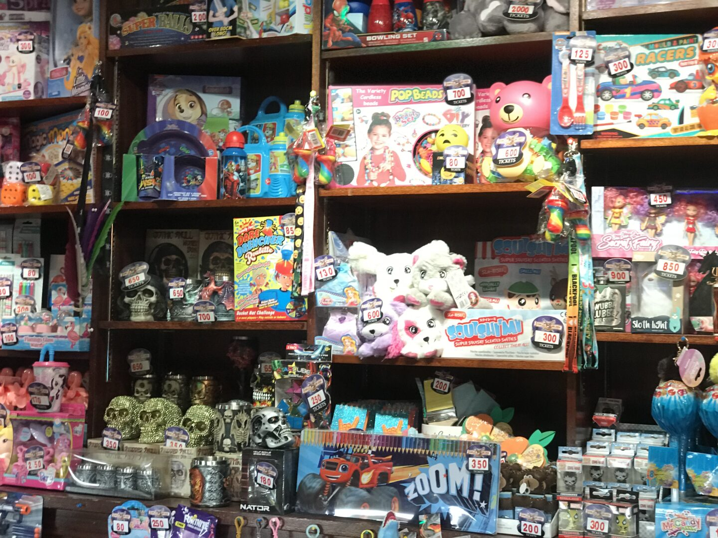 A view of the many, many toys and prizes available in the prize shop in Coral island