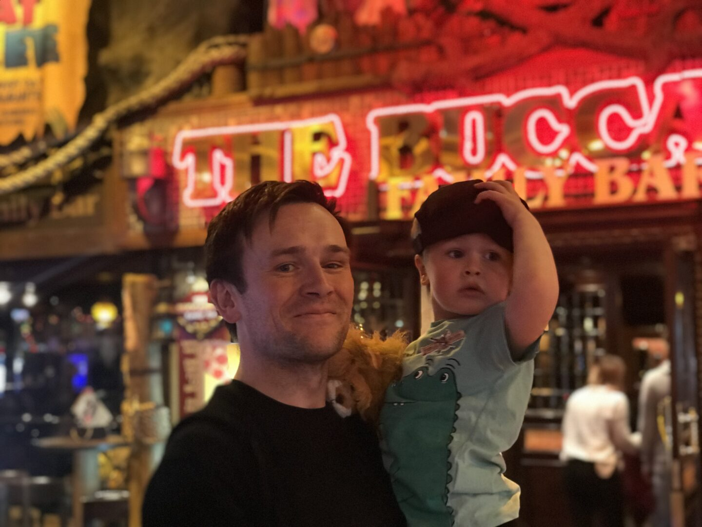 Neil and dexter outside the Buccaneer restaurant in Coral Island, Blackpool