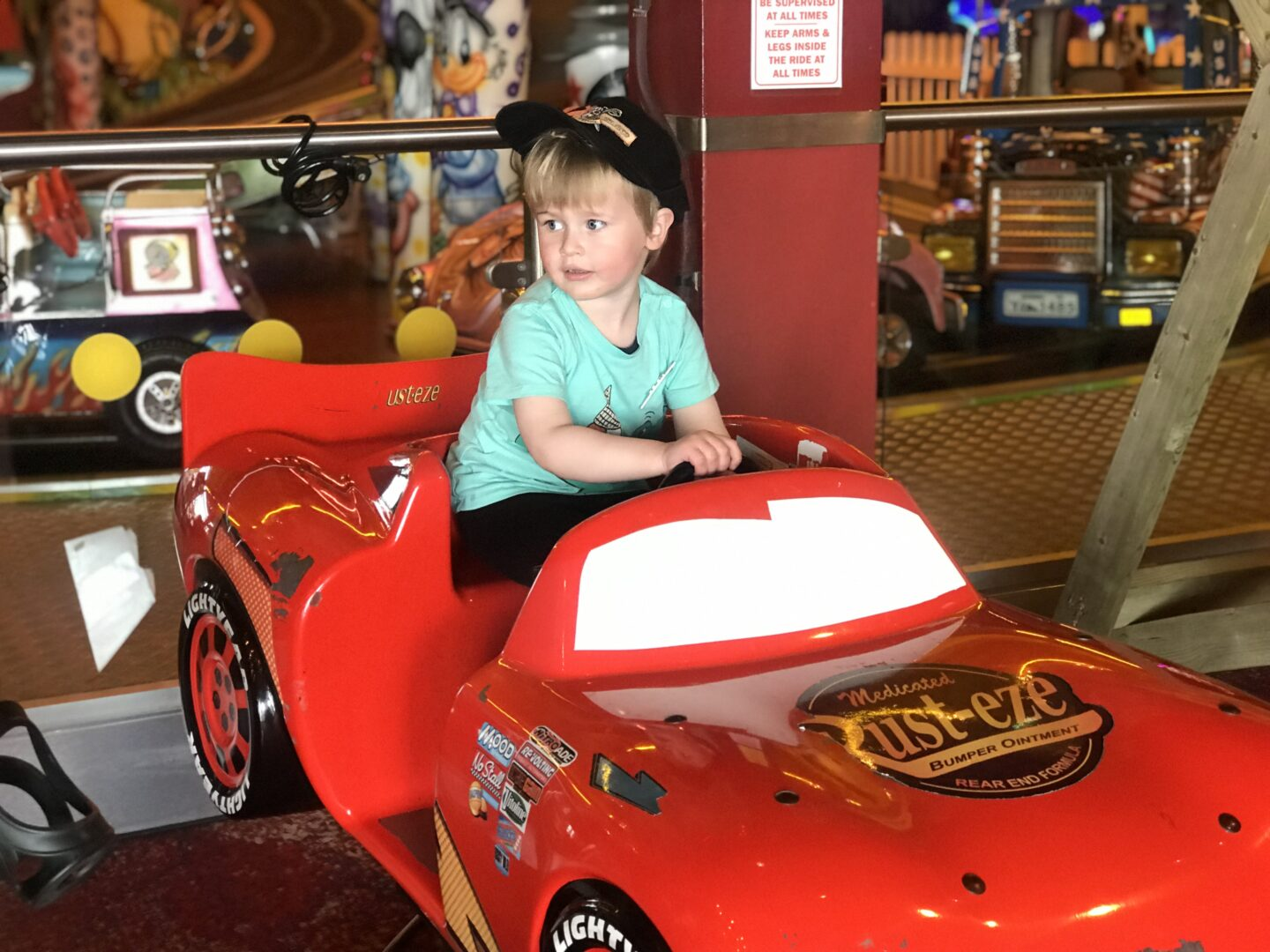Dexter on the lightening mcqueen ride on in coral island, blackpool
