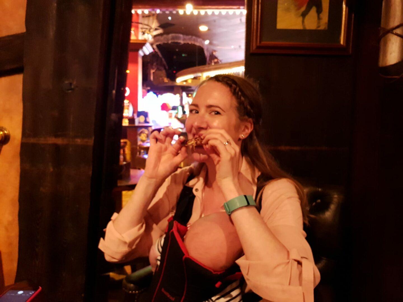 me eating hot wings inside the buccaneer, coral island, blackpool