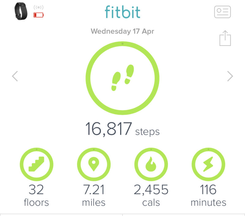 Screenshot of the Fitbit app showing number of steps taken, stair climbed, calories burnt and miles walked