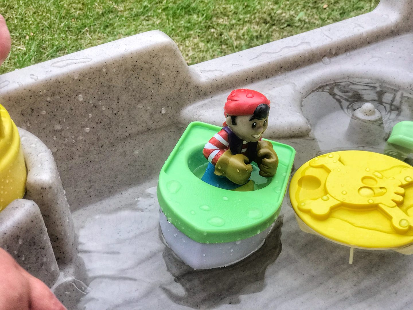 Close up of the pirate figure in the boat