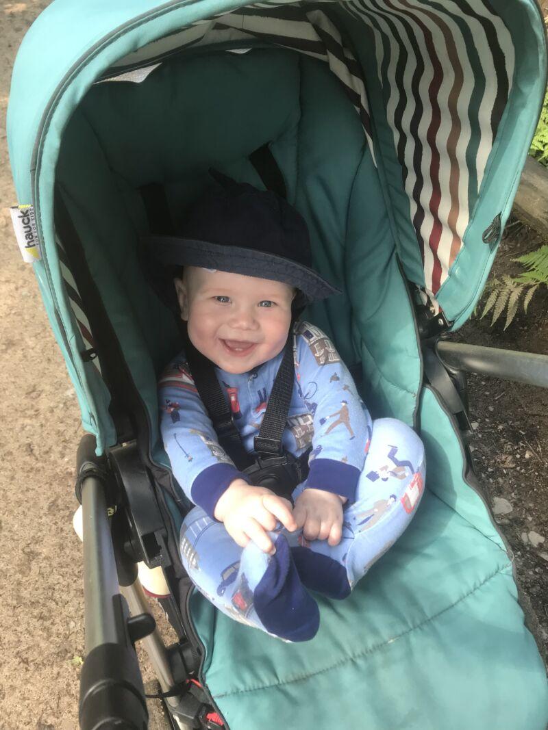 felix sat in his pram at trentham monkey park smiling