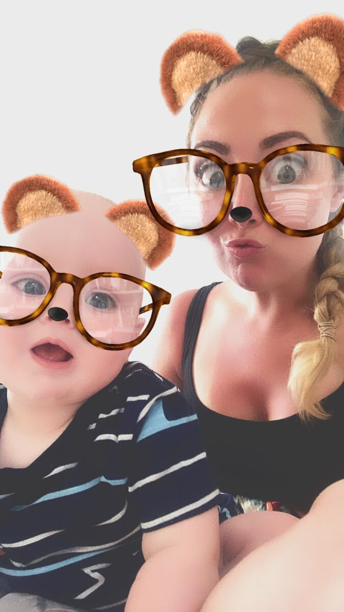 Nicola and felix using facebook messenger to do a silly selfie