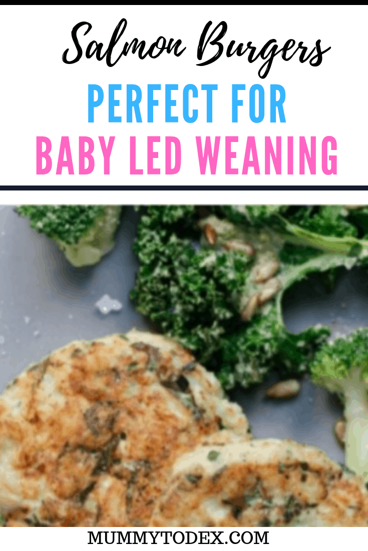 An easy recipe for salmon burgers perfect for baby led weaning and the whole family, using fresh ingredients to create healthy finger food perfect for a baby led weaning lunch or baby led weaning dinner. #blw #blwideas #babyledweaning #babyledweaningrecipes