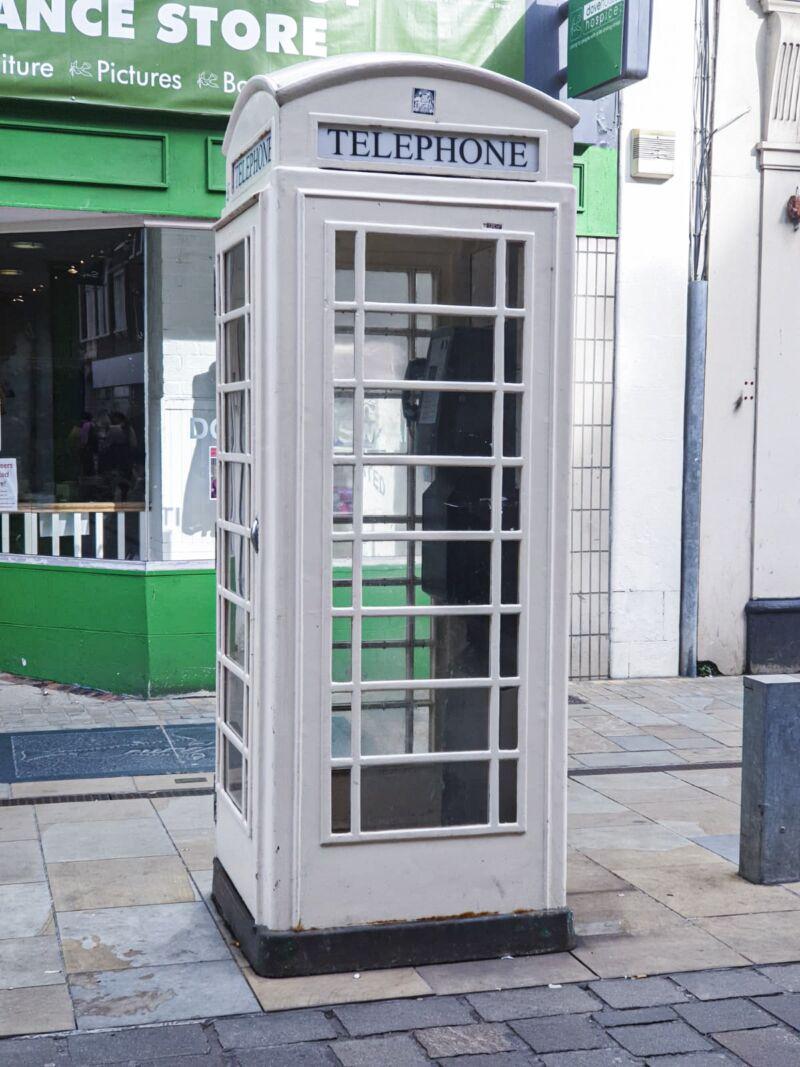 Cream telephone box in Hull's city centre