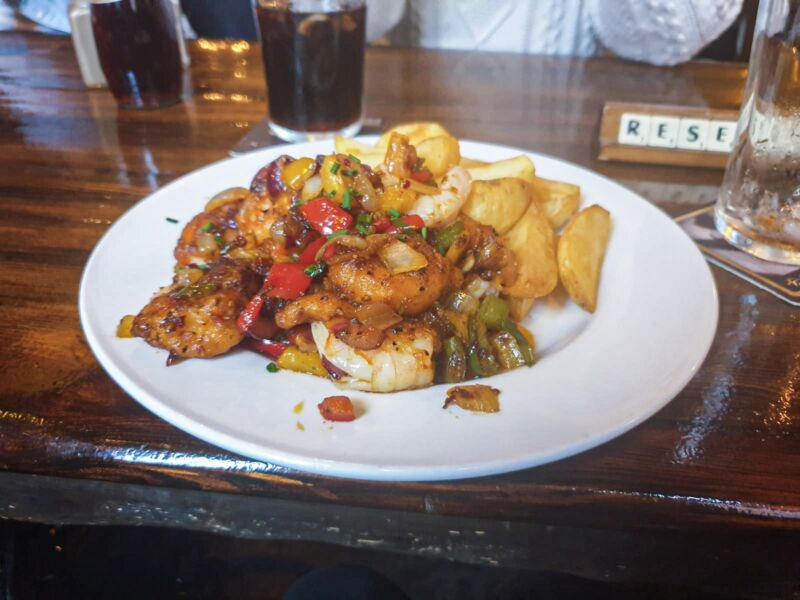 Salt and pepper prawns and chips in the Lion and Key pub in Hull's Old Town