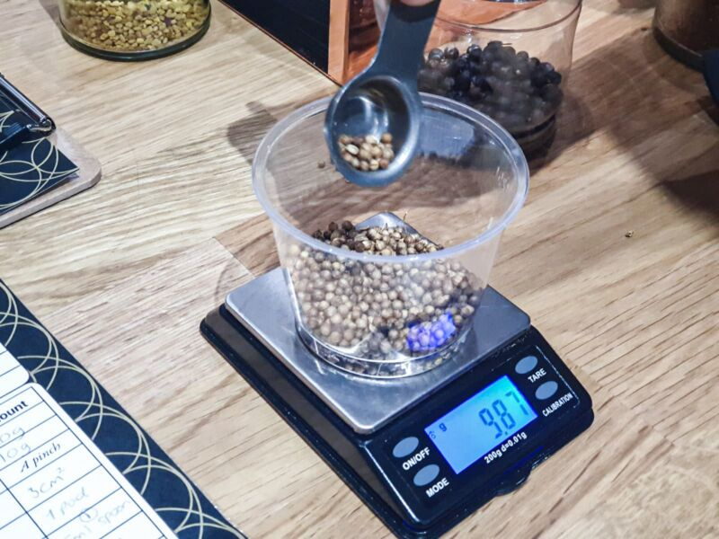 Measuring out our botanicals using a tiny, precise scales