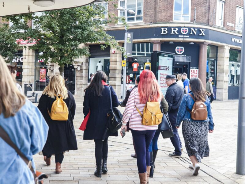 Bloggers walking with Paul through Hull city centre