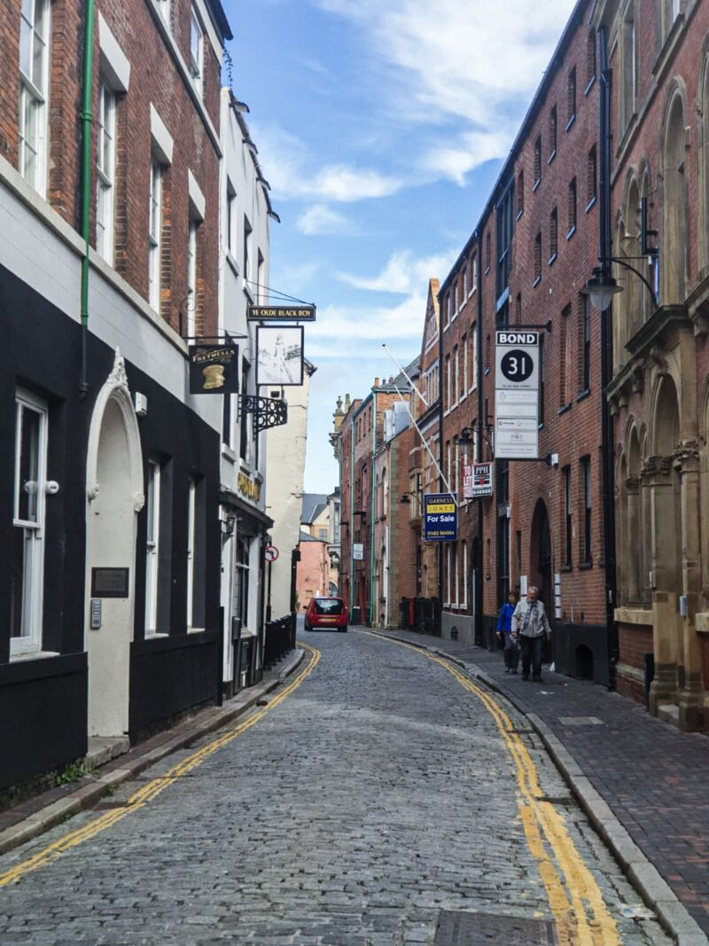 Street with cobbled road in Hull