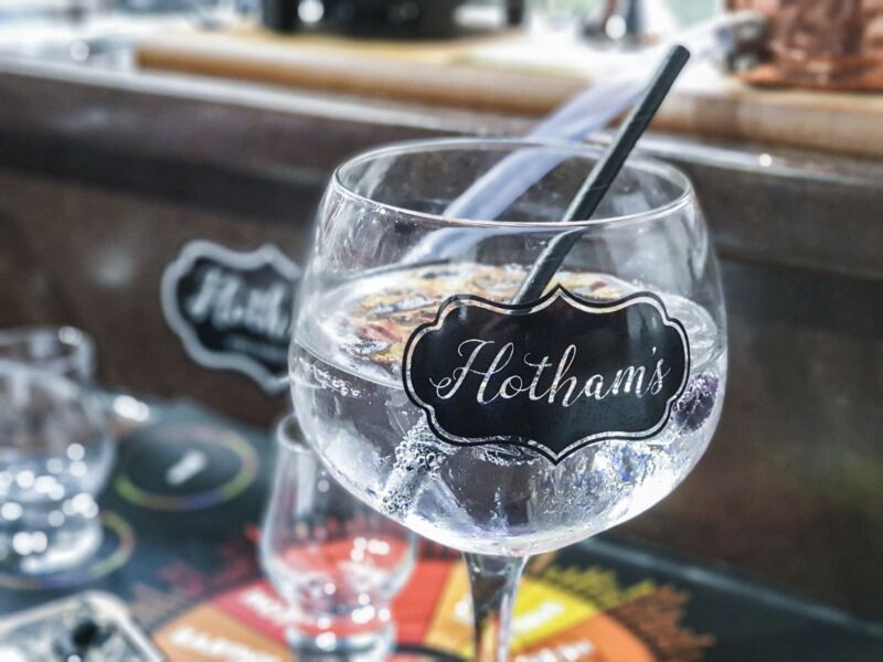A glass of Hotham's gin at Hotham's gin school in Hull