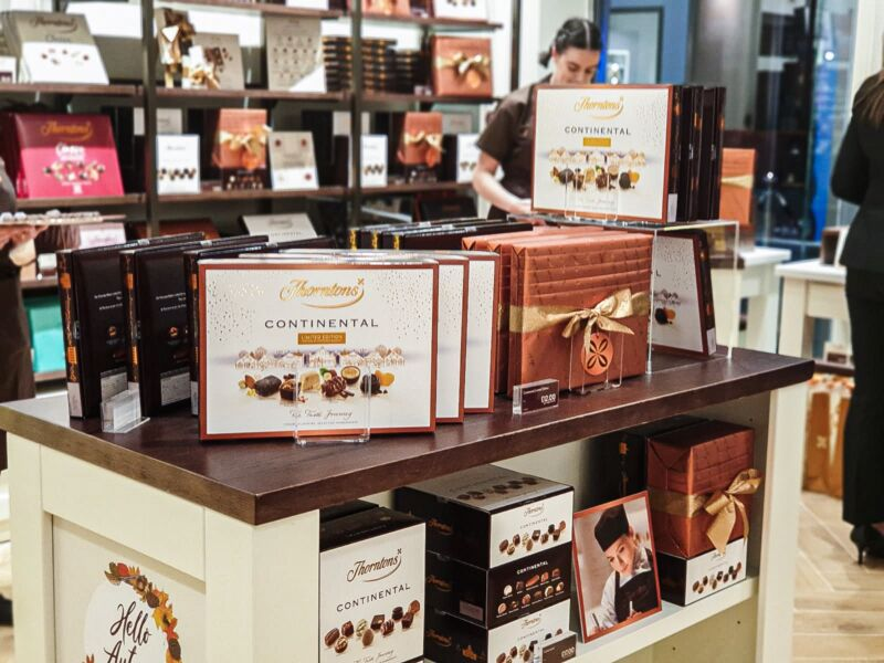 Chocolate boxes display inside the store at Liverpool One
