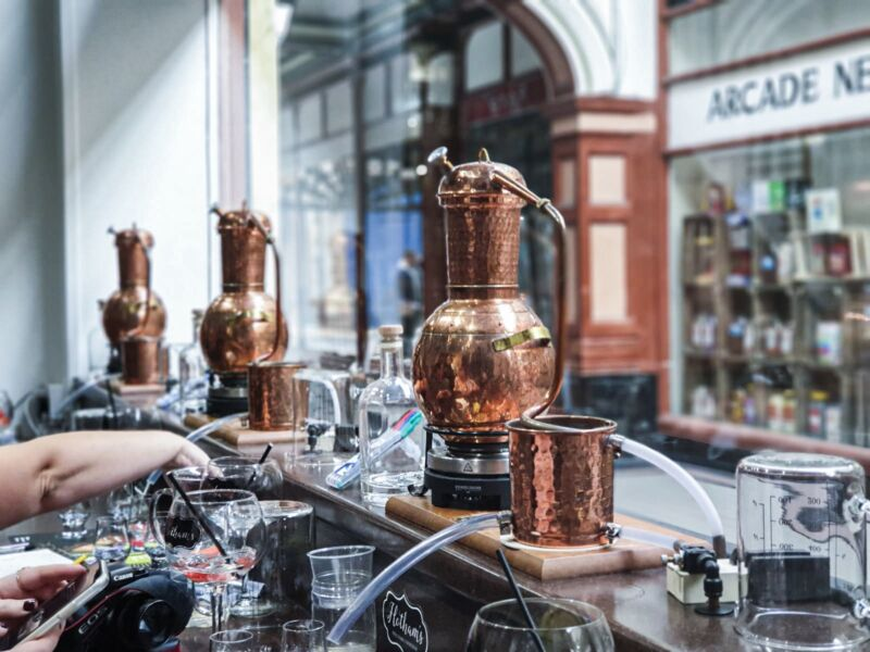 The stills working their magic in Hotham's gin school