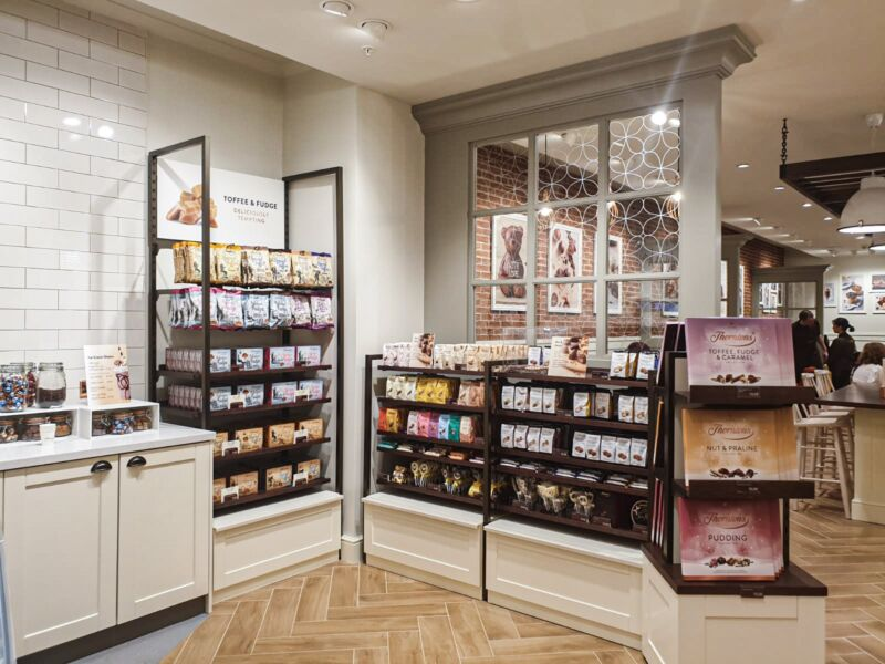 Chocolate displays including toffee and fudge inside the new Thornton's store in Liverpool One
