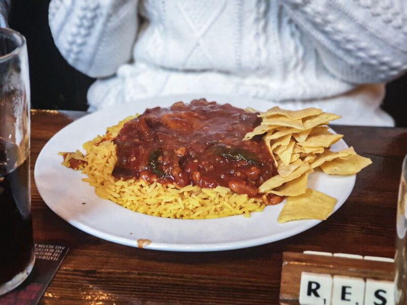 Vegetarian chilli and rice at the Lion and Key in Hull