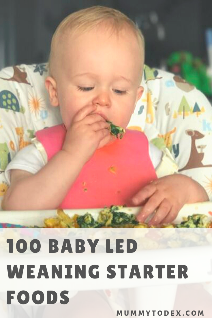 A list of 100 baby led weaning starter foods, perfect for your first month of baby led weaning. A list of simple finger foods to offer baby including links to lots of breakfast, lunch and dinner baby led weaning recipes that are perfect for starting out on your blw journey #blw #firstfoods #babyledweaning
