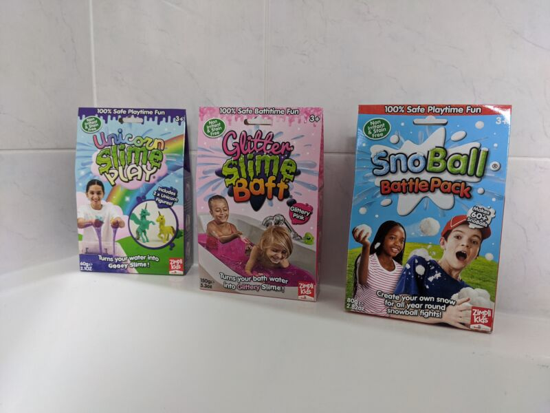 Three boxes of zimpli kids toys for giveaway