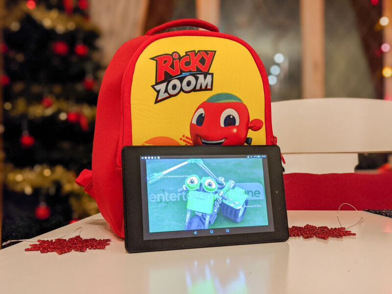 Ricky Zoom on the tablet against a backdrop of a Ricky Zoom rucksack and Christmas tree