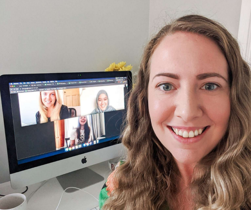 nicola working from home during the pandemic, on a google hangout with the team