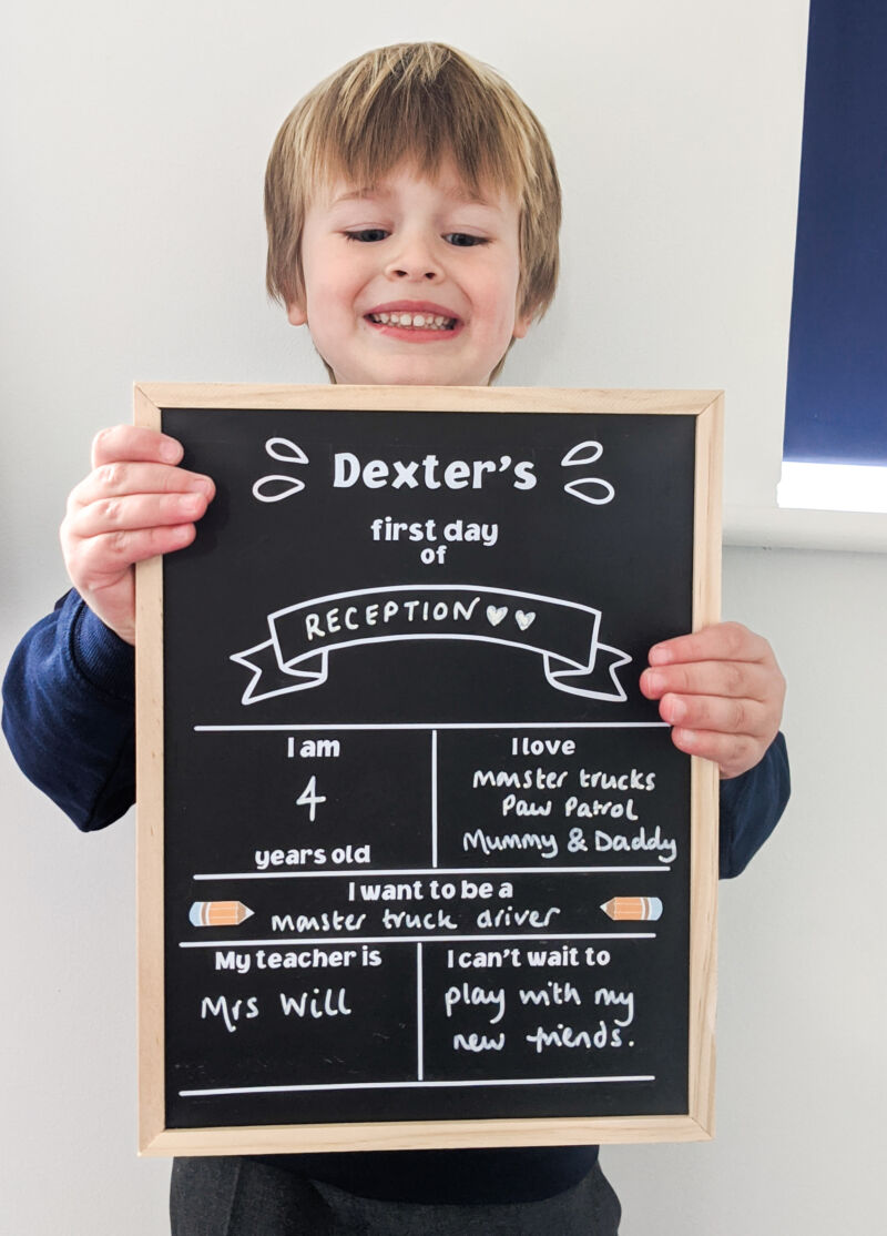 Dexter on his first day of school