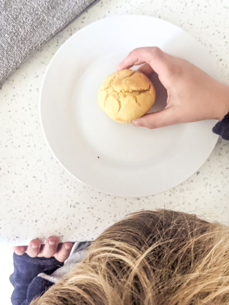 Dexter reaching for baby led weaning pumpkin muffin